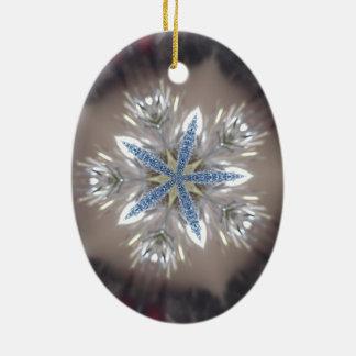 Ornamento De Cerâmica Branco azul brilhante da estrela festiva elegante
