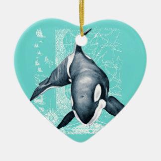 Ornamento De Cerâmica Branco da cerceta da orca