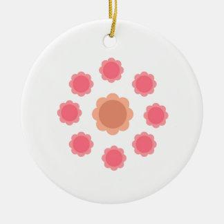 Ornamento De Cerâmica Branco do rosa da mandala do design