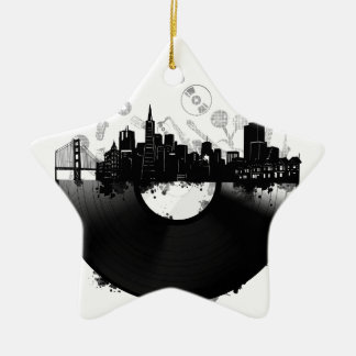 Ornamento De Cerâmica branco do vinil da skyline da cidade de San