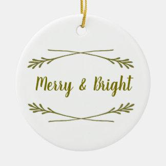 Ornamento De Cerâmica Branco & ouro Merry& brilhante