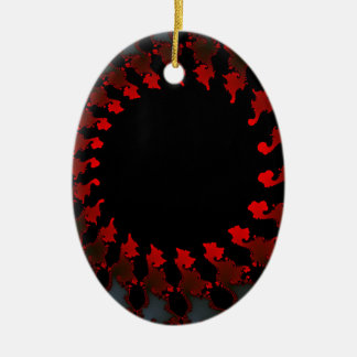 Ornamento De Cerâmica Branco preto vermelho do Fractal