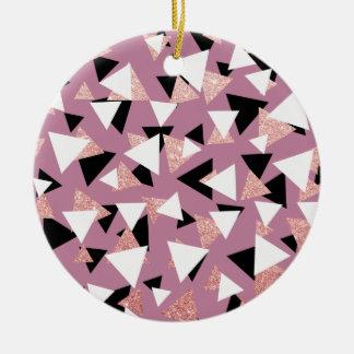 Ornamento De Cerâmica Brilho cor-de-rosa do ouro dos triângulos
