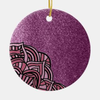 Ornamento De Cerâmica Brilho roxo do falso com design do medalhão