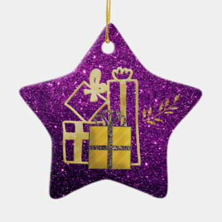 Ornamento De Cerâmica Brilho roxo dourado do falso dos presentes de