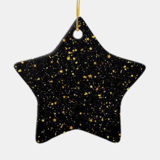 Ornamento De Cerâmica Brilho Stars3 - Preto do ouro