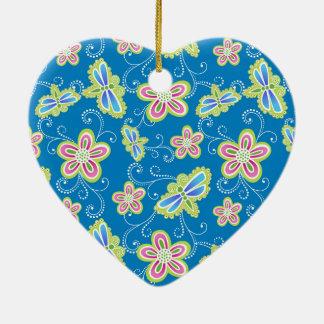 Ornamento De Cerâmica Brillant floresce, libélulas e redemoinhos no azul