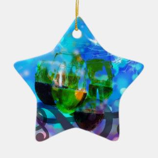 Ornamento De Cerâmica Brindando vidros e notas da música