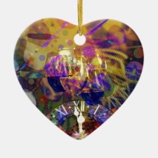 Ornamento De Cerâmica Brinde no partido da celebração do ano novo