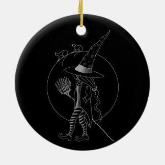 Ornamento De Cerâmica Bruxa bonito do Dia das Bruxas