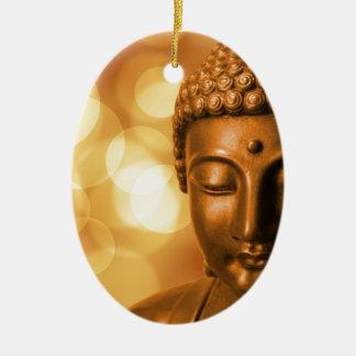 Ornamento De Cerâmica Buddha dourado