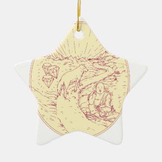 Ornamento De Cerâmica Buddha e lobo na tiragem dos diamantes da estrada