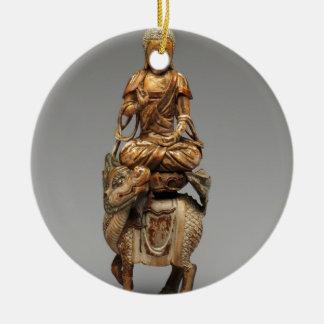 Ornamento De Cerâmica Buddha Shakyamuni com bodhisattvas assistentes
