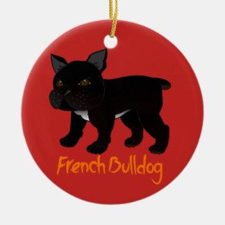 Ornamento De Cerâmica Buldogue francês preto