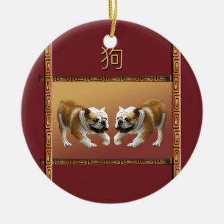Ornamento De Cerâmica Buldogues no ano novo chinês do design asiático,