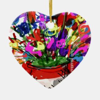 Ornamento De Cerâmica Buquê 2017 da flor da modificação Digital