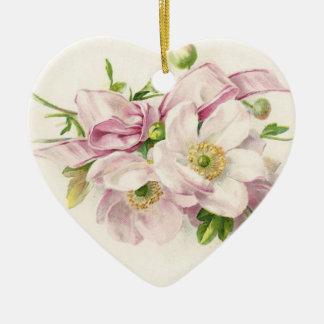 Ornamento De Cerâmica Buquê cor-de-rosa