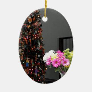 Ornamento De Cerâmica Buquê da flor e árvore de Natal coloridos