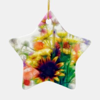 Ornamento De Cerâmica Buquê do Wildflower do verão