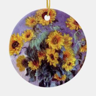 Ornamento De Cerâmica Buquê dos girassóis por Claude Monet, arte do
