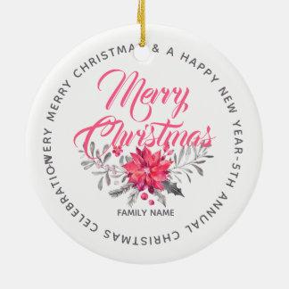 Ornamento De Cerâmica Buquê & tipografia das flores do Feliz Natal