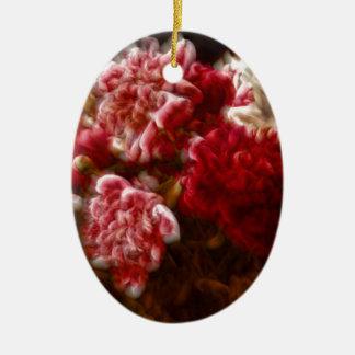 Ornamento De Cerâmica Buquê vermelho flamejante da flor da peônia
