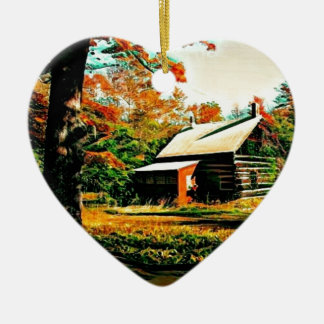Ornamento De Cerâmica Cabana rústica de madeira da ilha de St Joseph