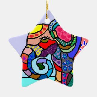 Ornamento De Cerâmica Cabeça artística abstrata colorida do elefante
