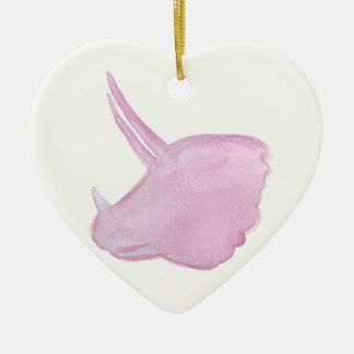 Ornamento De Cerâmica Cabeça cor-de-rosa do Triceratops