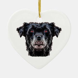 Ornamento De Cerâmica Cabeça de cão preto do demónio