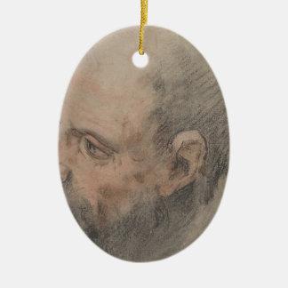 Ornamento De Cerâmica Cabeça de um homem farpado que olha à esquerda