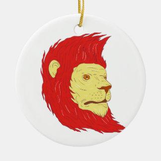 Ornamento De Cerâmica Cabeça do leão com o desenho de fluxo da juba