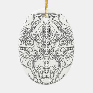 Ornamento De Cerâmica cabeça do lobo