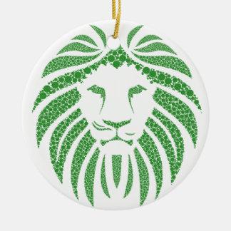 Ornamento De Cerâmica Cabeça verde do leão