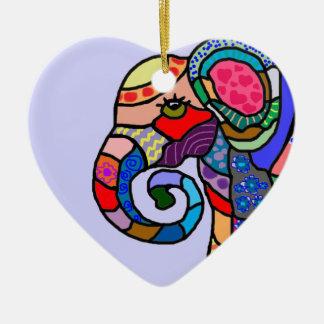 Ornamento De Cerâmica Cabeça vibrante abstrata colorida do elefante