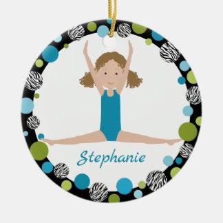 Ornamento De Cerâmica Cabelo encaracolado do Gymnast da estrela no Aqua