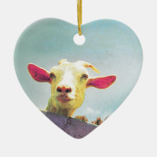 Ornamento De Cerâmica cabra Cor-de-rosa-orelhuda