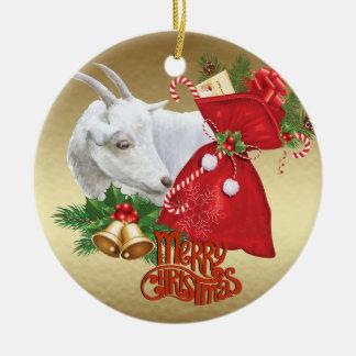 Ornamento De Cerâmica Cabra do Natal de Saanen com espírito do feriado