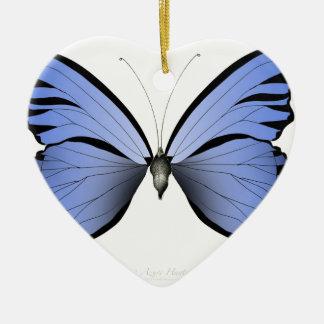 Ornamento De Cerâmica Caçador azul do Azure da borboleta 2