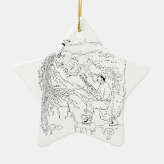 Ornamento De Cerâmica Caçador e faisão Ukiyo-e