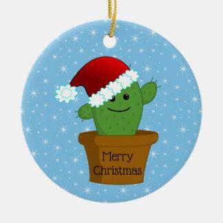 Ornamento De Cerâmica Cacto de Natal em um chapéu do papai noel