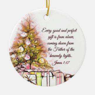 Ornamento De Cerâmica Cada bom e 1:17 perfeito de James do presente,