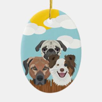 Ornamento De Cerâmica Cães afortunados da ilustração em uma cerca de