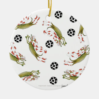 Ornamento De Cerâmica cães do futebol dos vermelhos