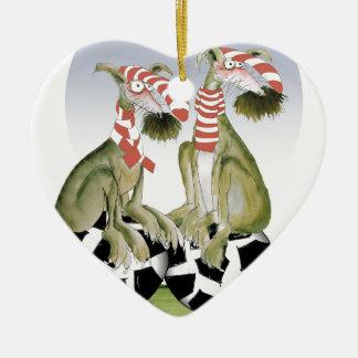 Ornamento De Cerâmica cães do futebol dos vermelhos quando sábado vier
