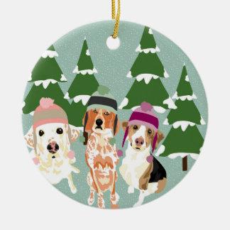 Ornamento De Cerâmica Cães do inverno