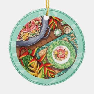 Ornamento De Cerâmica Café da ilha - frigideira chinesa de Heliconia