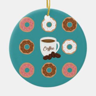 Ornamento De Cerâmica Café e rosquinhas