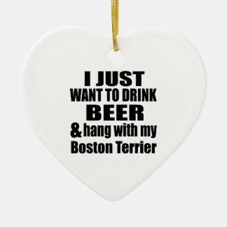 Ornamento De Cerâmica Cair com minha Boston Terrier