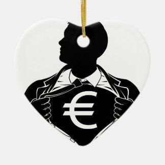 Ornamento De Cerâmica Caixa de rasgo da camisa do euro- super-herói do